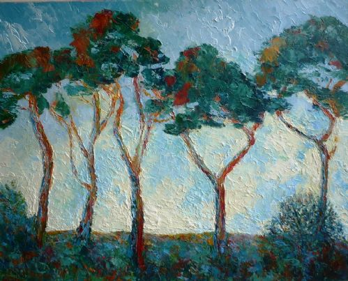 Joan Speight Majestic Pines oil painting on board